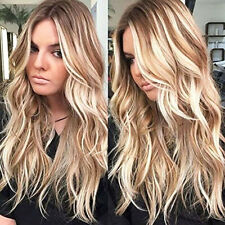 Womens Curly Long Wig Hair Wavy Ombre Blonde Natural Synthetic Full Wigs Costume