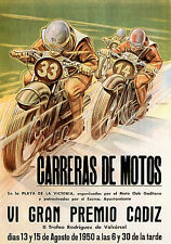 1950 MOTORCYCLE PRIX CADIZ SPAIN BIKE CARRERAS MOTOS LARGE VINTAGE POSTER REPRO