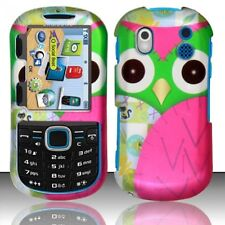 For Samsung Intensity 2 U460 Rubberized Design Hard Cover Case Green Pink Owl