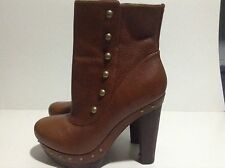 UGG Australia Size 9.5 Cosima Mid Boot Chestnut Brown Leather Clog Shoes $275
