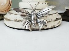Detailed Sterling Silver 925 Moth Butterfly Handmade Good Luck Pin Brooch