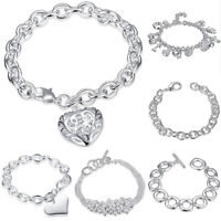 925 Silver Plated Bangle Chain Bracelet Women Jewelry Crystal Cuff Charm Gift