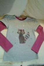 Girls John Lewis Grey Pink Fox Racoon T Shirt Top age 10 Years IMMACULATE!!