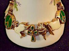 Charm Bracelet, Peace Theme ~ Enameled Classic TOFA Gold Tone Slider #5430901