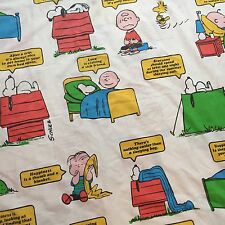 Vintage 1971 Peanuts Gang Twin Flat Sheet Charlie Brown Snoopy Happiness Is...