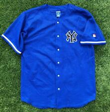 Rare VTG 90s Blue Champion New York Yankees Stitched Alternate Baseball Jersey L