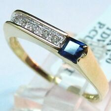 Cocktail DIAMOND & SAPPHIRE RING .44CT 14K SOLID YELLOW GOLD PRINCESS Size 7.25