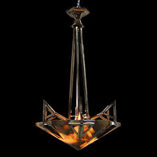 Stunning Art Deco Chrome & Alabaster Chandelier c. 1930 #7317
