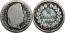 LOUIS PHILIPPE 1/2 FRANC 1835 W RARE
