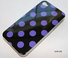 iPHONE 4 4G 4S - HARD SILICONE RUBBER GUMMY CASE COVER PURPLE BLACK POLKA DOTS