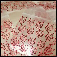 "Mini Ziplock Baggies 2020 Apple 100 Red Devil Design Reclosable Bags 2"" X 2"""