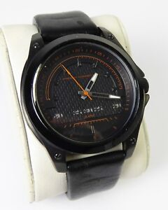 Men's French Connection Black 50m WR Watch with Black Leather Strap 2101094