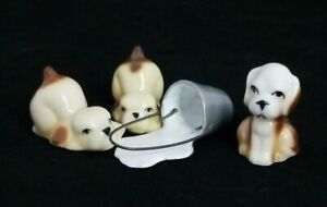 Set of 3 Bug House Puppies and Pail of Spilled Milk Miniature Dollhouse