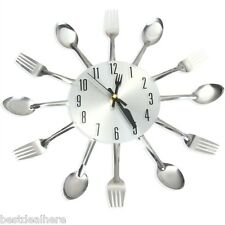 Novel Stainless Steel Knife Fork Spoon Analog Wall Clock Home Decoration Silver