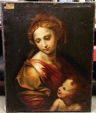 """After Raphael Sanzio """" La Perla """" Vierge à l'Enfant Superbe Peinture XVIIIe"""