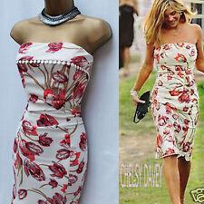 KAREN MILLEN 14 UK Celebrity Ivory Coral Tulip Flower Print Chelsy Bandeau Dress