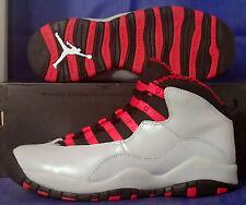 Nike Girls Air Jordan 10 X Retro Wolf Grey Legion Red Youth SZ 7Y ( 487211-009 )