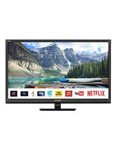 "Sharp 24"" TV Smart LED DVD Combi HD Ready Freeview Play USB Media PVR"