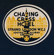 Charing Cross Hotel LONDON Southern Railway Co Old Luggage Label Kofferaufkleber