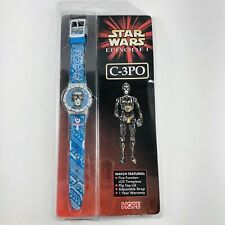 NEW Star Wars C-3PO Episode 1 Watch LCD Flip Face Wrist Band Clock Vintage 1999