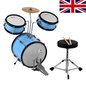 Kids Junior Drum Kit - 3 Piece Childrens Drum Set Blue with Stool XMAS Gift M0Y0