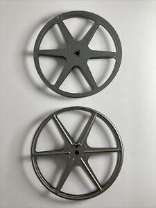 """8mm Metal 7"""" Movie Film Take Up Reel 400 FT Lot of 2X Metal Take up Reels"""