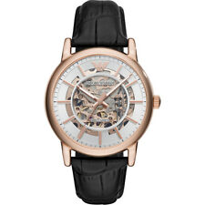 2018 NEW Emporio Armani Men's Automatic Black Leather Rose Gold Watch AR60007