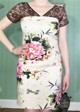 Brown Lace & Cream Floral Sateen Paneled Dress Size 10 New! ~EugeniaM Designs~