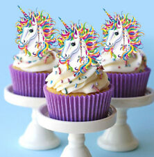 24 STAND UP MINI RAINBOW UNICORN HORN FAIRY EDIBLE CUPCAKE CAKE IMAGES TOPPERS