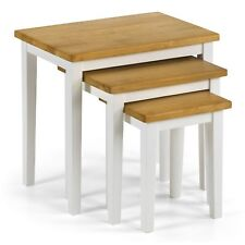 Julian Bowen Cleo White and Oak Nest of 3 Tables CLE002