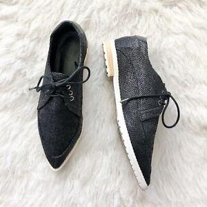Tibi Kern Linen Point Toe Oxfords Shoes Women's Black Size 38.5 8.5