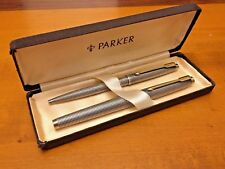 Parker 75 Silver Sterling Fountain Pen + Ballpoint - USA Flat End Tassies