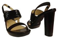 Michael KORS Black Sequins leather Strappy Slingback Platform Sandals Pumps 10