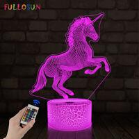 Unicorn 3D Illusion Night Light 16 Color LED Desk Night Lamp for Kids Girl Gifts