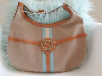 Gucci Canvas Web Reins Hobo Tan & Blue Purse 114871 EUC Shoulder Bag GG