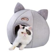 Grey Cat Cave Bed Large Pet Cozy Igloo Sleep Bed Winter Fleece House Nest Kennel