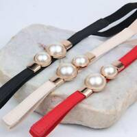 Fashion Thin PU Leather Belt Simulated Pearl Waist Belts Women Dress Strap