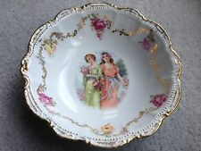 Vintage Bavaria Bowl Floral Center Gold Scalloped Trim Two Women Red Roses 10.5""