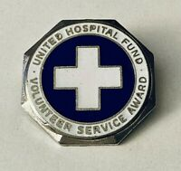 United Hospital Fund Volunteer Service Award Pin Silver Blue White Cross Enamel