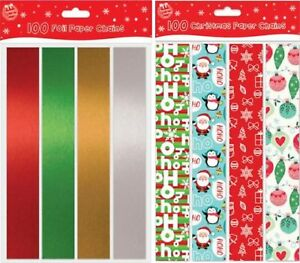 100, 20, 80 Coloured Foil Printed Paper Chain Various size Christmas Decorations