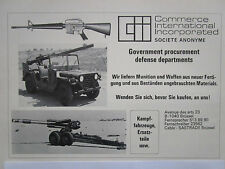 5/77 PUB COMMERCE INTERNATIONAL GROUP COLT M16 JEEP ARMES MUNITIONS GERMAN AD