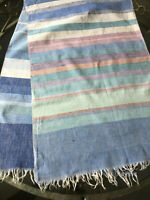 """VINTAGE 1960s Handwoven Blue Striped Table Runner Cloth 100% Cotton 17 X 54.5"""""""