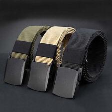 Men's Outdoor Sports Military Tactical Nylon Waistband Canvas Web Belt Black Pop