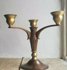 Vintage Arts And Crafts Copper And Brass Three arm Candelabra Candlestick Holder