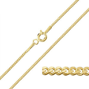 9ct Yellow Gold Plated on Sterling Silver 1.2mm CURB Chain Necklace