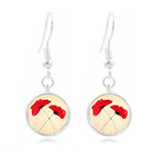 Red poppies Photo Art Glass Cabochon 16mm Charm Earring Earring Hooks