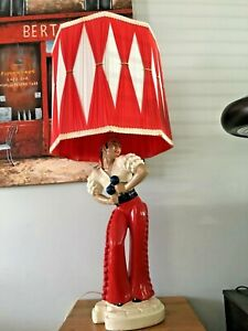Vintage MCM Melrose Co. Flamenco Male Dancer with Maracas Chalkware Table Lamp