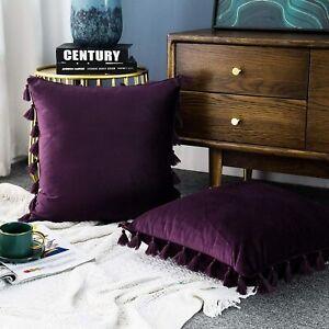 """Pack of 2 LIPO Purple Velvet w/Tassels Throw Pillow Covers 20"""" X 20"""""""
