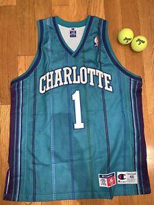 Baron Davis Vintage Charlotte Hornets Champion Authentic Jersey (Size 48 - XL)