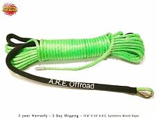 "GREEN ATV UTV Synthetic Winch Line 1/4"" X 50' 7000 LBS Cable Line With Sheath"